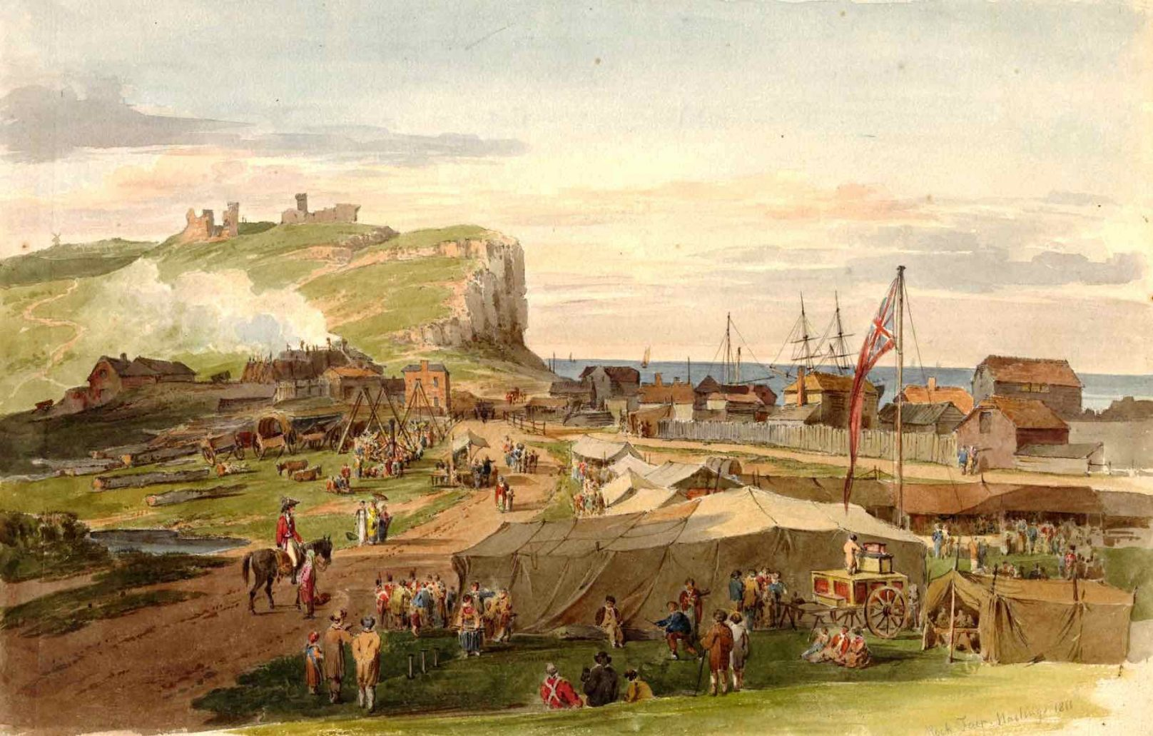 Painting by Paul Sandby Munn of a fair in Hastings in July 1811