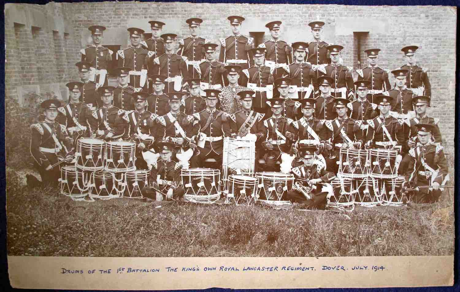 Photo of Drums of the 1st Battalion, The King's Own Royal Lancaster Regiment, Dover, July 1914