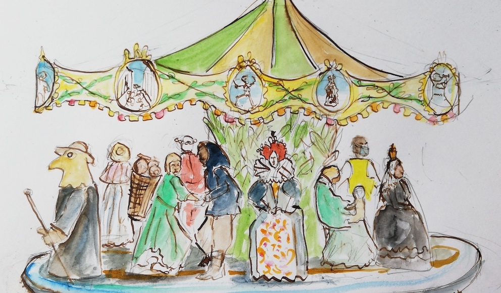 Illustration of a 15th century carousel for Rock On, Rock Fair event in Hastings by MSL