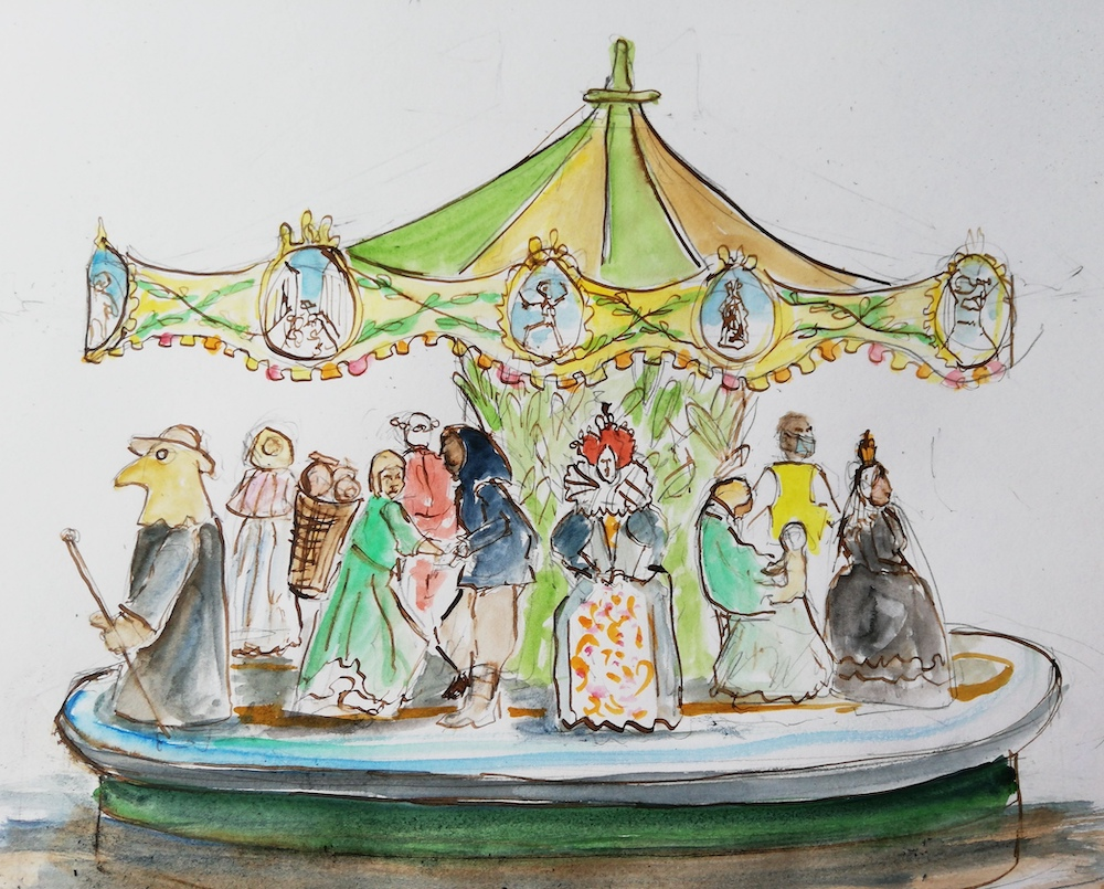 Illustration of 16th century carousel as part of MSL's Rock, Rock fair event in Hastings