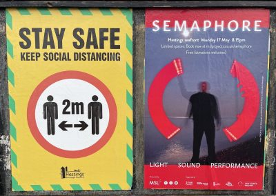 A Covid poster and a Semaphore event poster