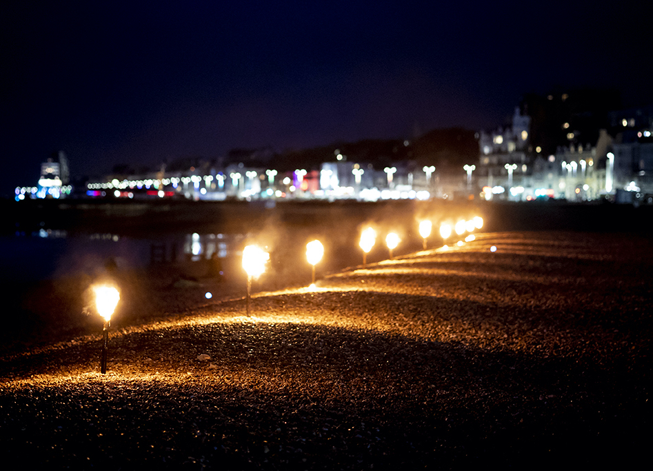 Torches at Semaphore event Hastings beach