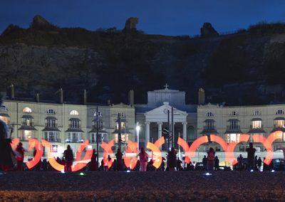 Semaphore signalling at Semaphore event on Hastings beach