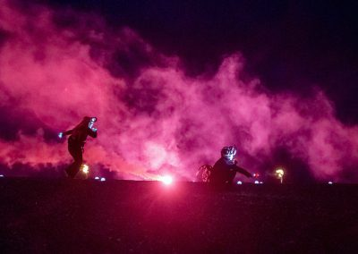 Satyrs appearing in smoke at Semaphore event on Hastings beach
