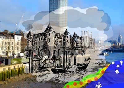 Digital image of buildings on the Thames river made for the Tate à Tate project for MSL Projects